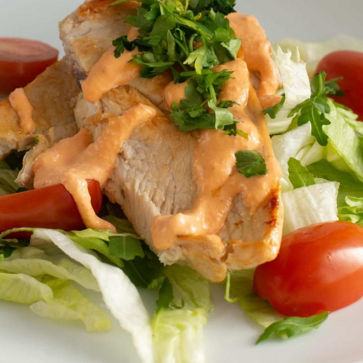 Grilled Chicken Breast with Creamy Red Pepper Sauce